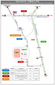 rutas de salidas estadio omnilife