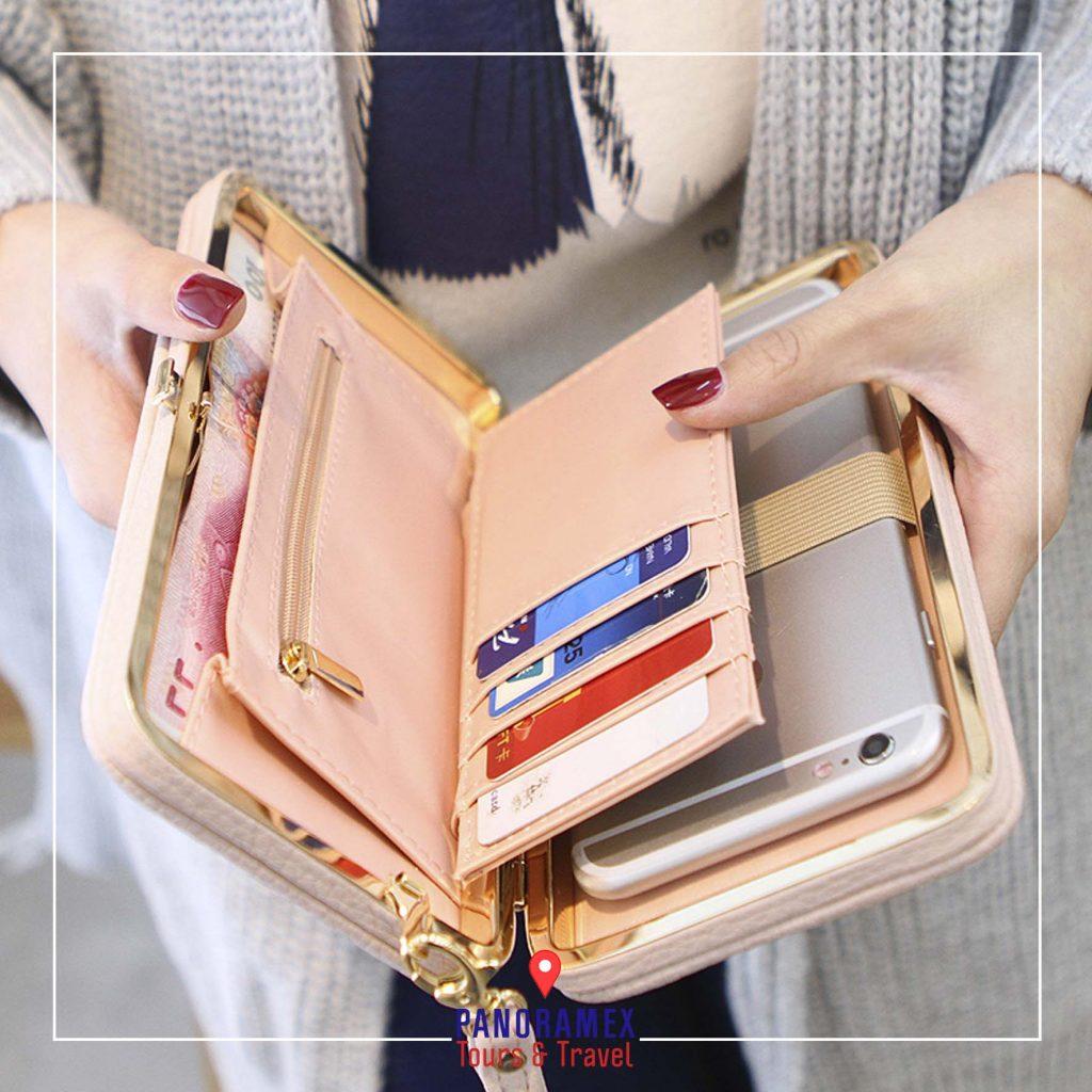 En tu Viaje Llevar tu Cartera con suficiente tarjetas de crédito y dinero en efectivo